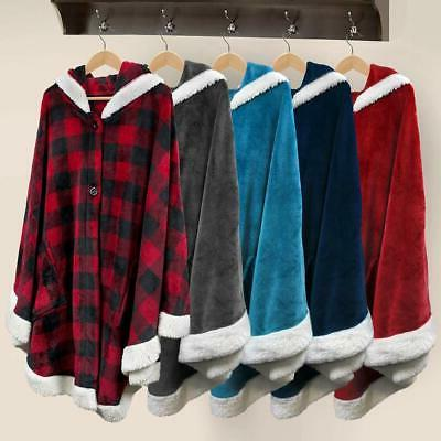Women Wrap Poncho Wearable Blanket With Pocket