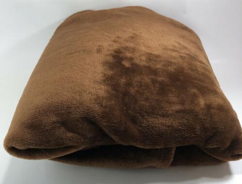 "Exclusivo XL Throw Flannel Blanket, 50"" X 70"" Brown"