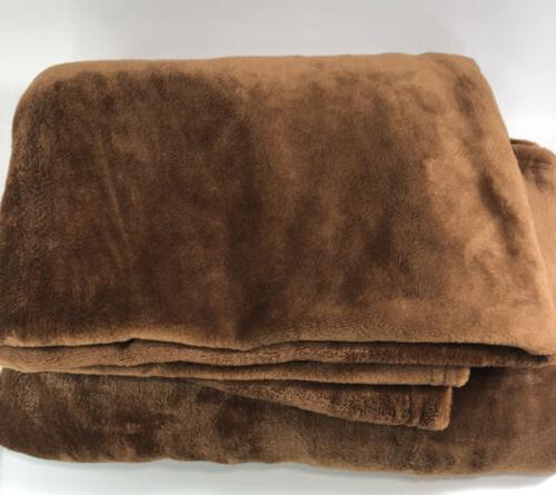 "Exclusivo Mezcla XL Flannel Velvet Plush Blanket, 50"" X Brown"