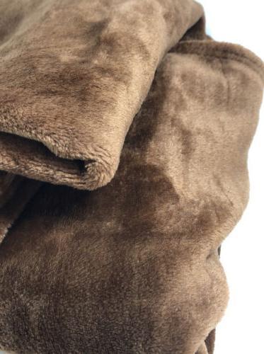 """Exclusivo Mezcla XL Flannel Fleece Velvet Blanket, 50"""" X Brown"""