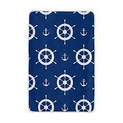 ALAZA La Random Blue Anchors Steering Wheels Soft Cozy Throw