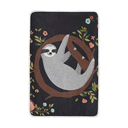 ALAZA La Random Cute Sloth Hanging Soft Cozy Throw Blankets