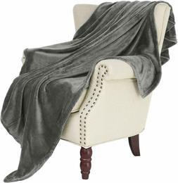 Exclusivo Mezcla Large Flannel Fleece Velvet Plush Throw Bla