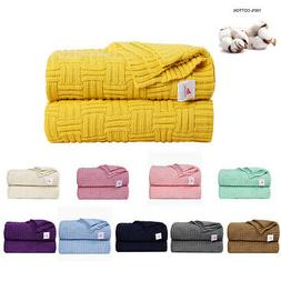 Large Soft Throw Blanket Warm Cable Knit Textured for Bed So