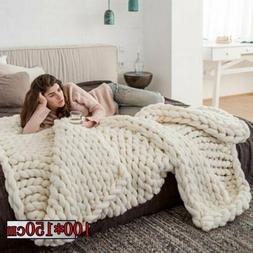 Large Soft Warm Handmade Chunky Knit Blanket Thick Line Yarn