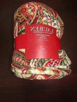 lauren fleece blanket throw by ralph lauren 60x70 nwt paisle