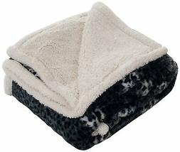 Lavish Home Fleece/Sherpa Animal Print Throw Blanket