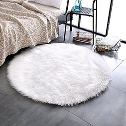 LEEVAN Plush Sheepskin Throw Rug Faux Fur Elegant Chic Style
