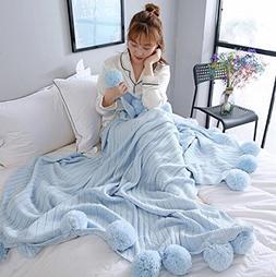 Ustide Light Blue Pompom Throw Blanket Cozy Knitted Throw Bl