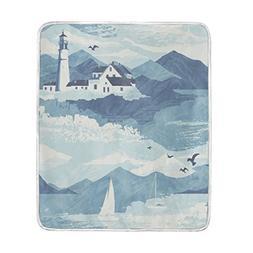 Sunlome Lighthouse Blue Nautical Print Soft Warm Cozy Throw