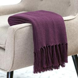 Chanasya Light Silky Solid Textured Throw Blanket w/ Tassels