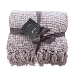 PERSUN Lightweight Throw Blanket Soft Decorative Knit Blanke