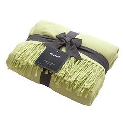 PERSUN Lightweight Throw Blanket Soft Decorative Knit Blanke