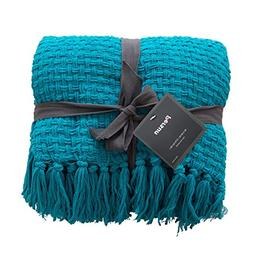 PERSUN Lightweight Throw Blanket Teal Soft Plush Microfiber