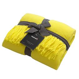 PERSUN Lightweight Throw Blanket Yellow Soft Plush Microfibe