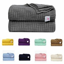 Lightweight Warm Soft 100% Cotton Cable Knit Throw Blanket S