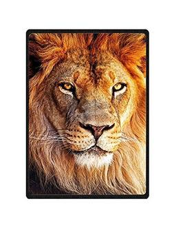 QH Lion Printing Velvet Plush Throw Blanket Comfort Design H