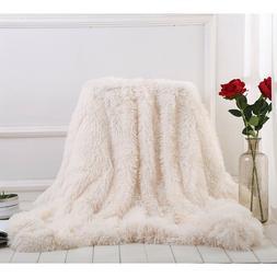 long shaggy soft faux fur blanket throw