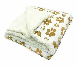 "Longrich Indented Paw Print Flannel Throw Blanket, 50"" L X 6"