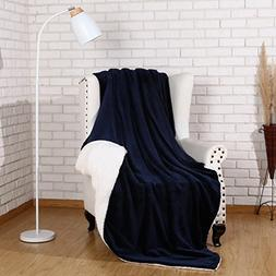 Sherpa Throw Blanket Luxury Navy Blue Twin Size 60x80 Inches