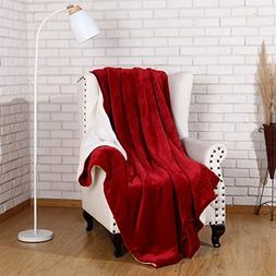 Sherpa Throw Blanket Luxury Burgundy Red Twin Size 60x80 Inc