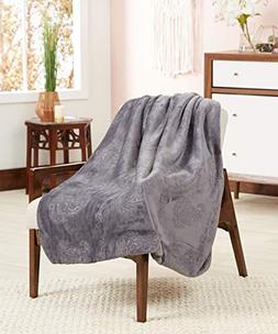 POSH HOME Luxurious 3D Paisley Soft Sherpa Reversible Throw