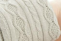 "Battilo Luxury Cable Knit Throw Blanket, 50"" W x 60"" L, Beig"