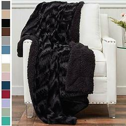 luxury faux fur with sherpa reversible throw