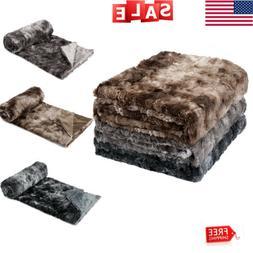 Luxury Home Bed Sofa Blanket Faux Fur Fleece Blanket Throw S