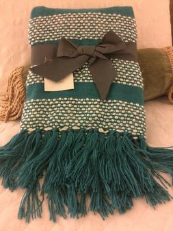 LUXURY KNIT WEAVE FRINGED THROW BLANKET Teal Blue / Green &