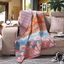 Luxury Reversible 100% Cotton Chic Boho Stripe Quilted Throw