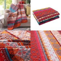 Luxury Reversible 100% Cotton Exotic Boho Stripe Quilted Thr