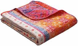 Luxury Reversible 100% Cotton Multicolored Boho Stripe Quilt