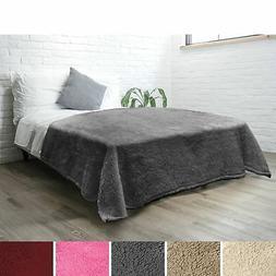PAVILIA Luxury Sherpa Twin Size Bed Blanket   Fluffy, Plush,