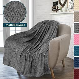 PAVILIA Luxury Soft Plush Dark Grey Throw Blanket for Sofa,