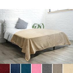PAVILIA Luxury Soft Plush Latte Beige Blanket for Twin Bed,