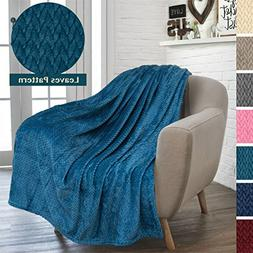 PAVILIA Luxury Soft Plush Teal Throw Blanket for Sofa, Couch