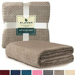 PAVILIA Luxury Soft Plush Taupe Throw Blanket for Sofa, Couc