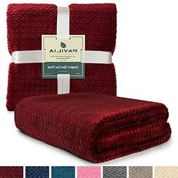 PAVILIA Luxury Soft Plush Wine Red Throw Blanket for Sofa, C