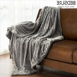 Bedsure Luxury Solid Faux Fur Throw Blanket Rug Super Soft W