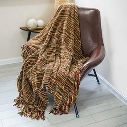 Luxury Thick Fluffy Chenille Knitted Throw Blanket With Deco