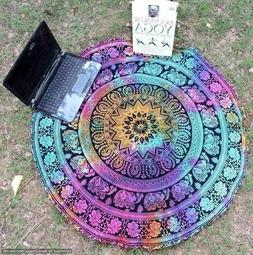 Mandala Roundie Round Beach Throw Tapestry, Hippy Boho Gypsy