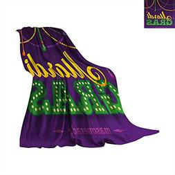 Anhuthree Mardi Gras Throw Blanket Beads and Tassels Masquer