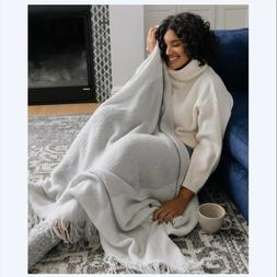 Mark and Graham Colorblock Throw Blanket Gray Ivory William