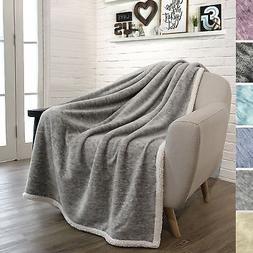 PAVILIA Premium Sherpa Melange Throw Blanket for Couch, Sofa