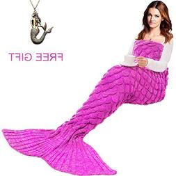 JR.WHITE Mermaid Tail Blanket for Kids and Adult,Hand Croche