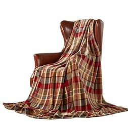MERRYLIFE Throw Blanket Plaid Sherpa | Ultra-Plush Soft Colo