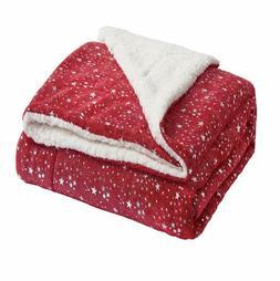 Bedsure Metallic Sherpa Fleece Blanket Throw Size Red Plush