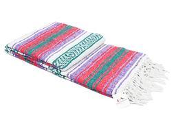 Open Road Goods Mexican Blanket - Pastel Vintage Boho Colors