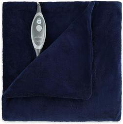 Sunbeam Microplush Electric Heated Throw Blanket, Royal Blue